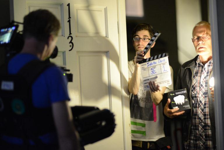 """Slating a scene for """"Into the Dark."""""""