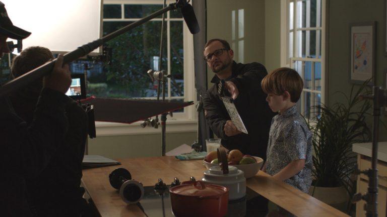 Slating a scene for the LyfeLite commercial.